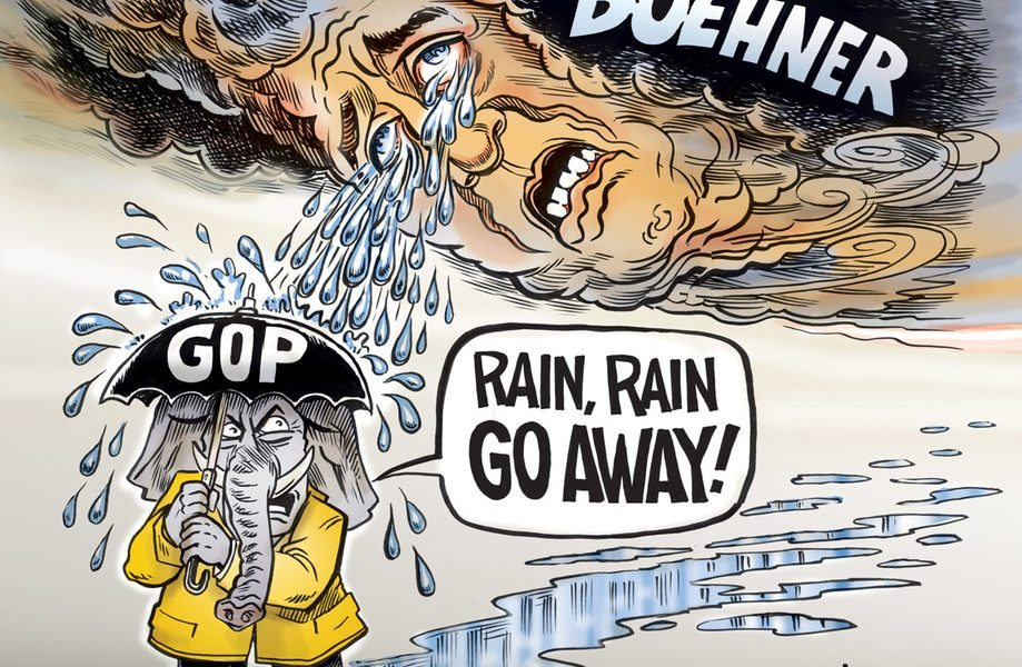 John Boehner Cartoon, Rain, Rain, Go Away