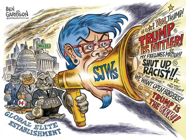 Sjw, social justice warrior , George Soros, Hillary Clinton, Trump rally,Chicago, protesters, Ben Garrison, cartoon, grrrgraphics.com, Trump protesters, Moveon.org