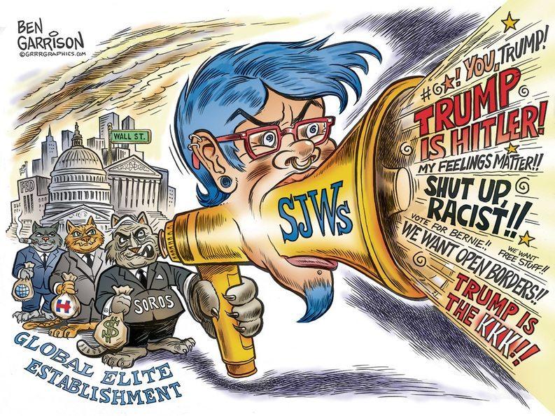 Sjw, social justice warrior , George Soros, Hillary Clinton, Trump rally,Chicago, protesters, Ben Garrison, cartoon, grrrgraphics.com, Trump protesters, Moveon.org