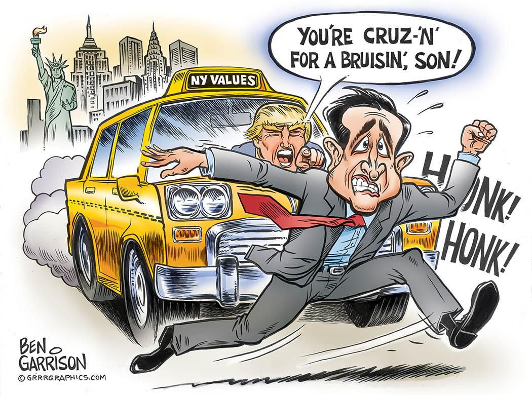 Trump runs down Cruz in New York Taxi