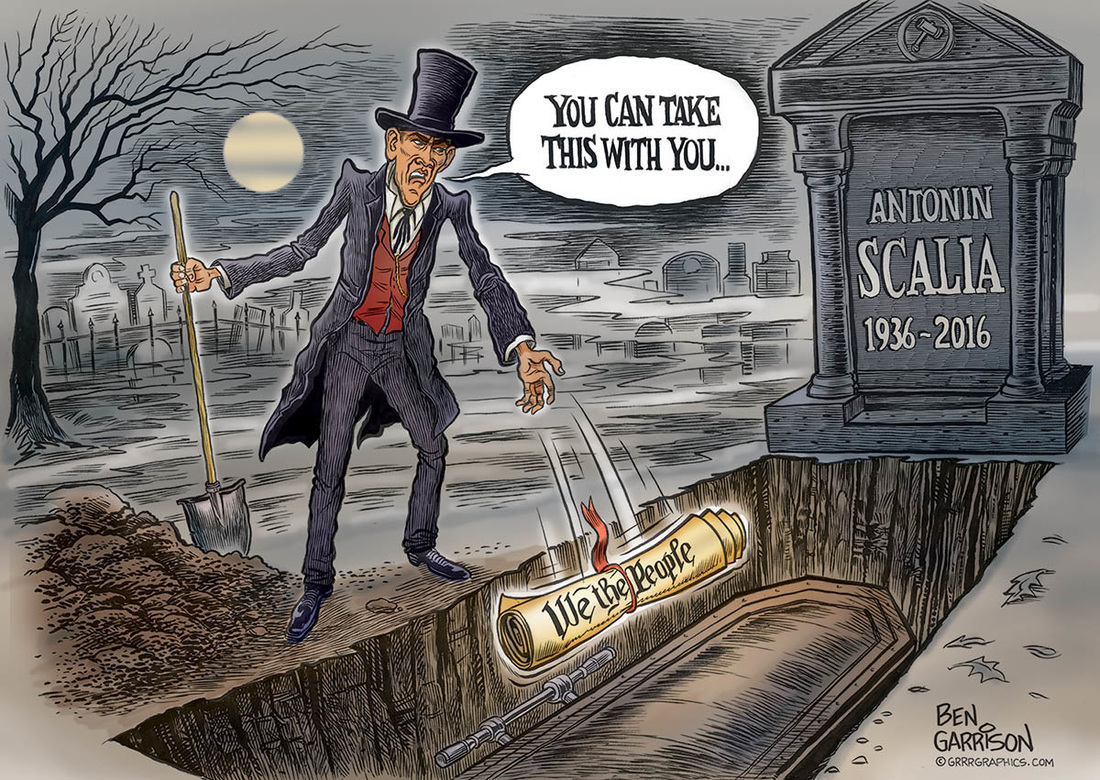 Obama Throws constitution in with Scalla's Coffin