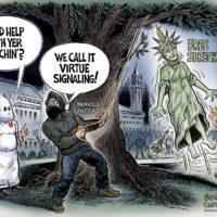 Virtue Signaling, Berkeley Style cartoon by Ben Garrison