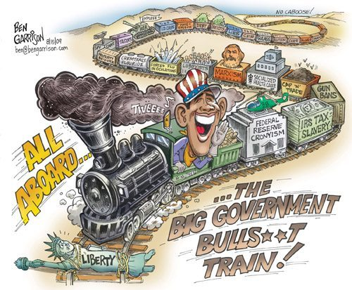 The Big Government Bullsh*t Train cartoon by Ben Garrison