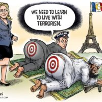 Le Pen Kicks Butt cartoon by Ben Garrison