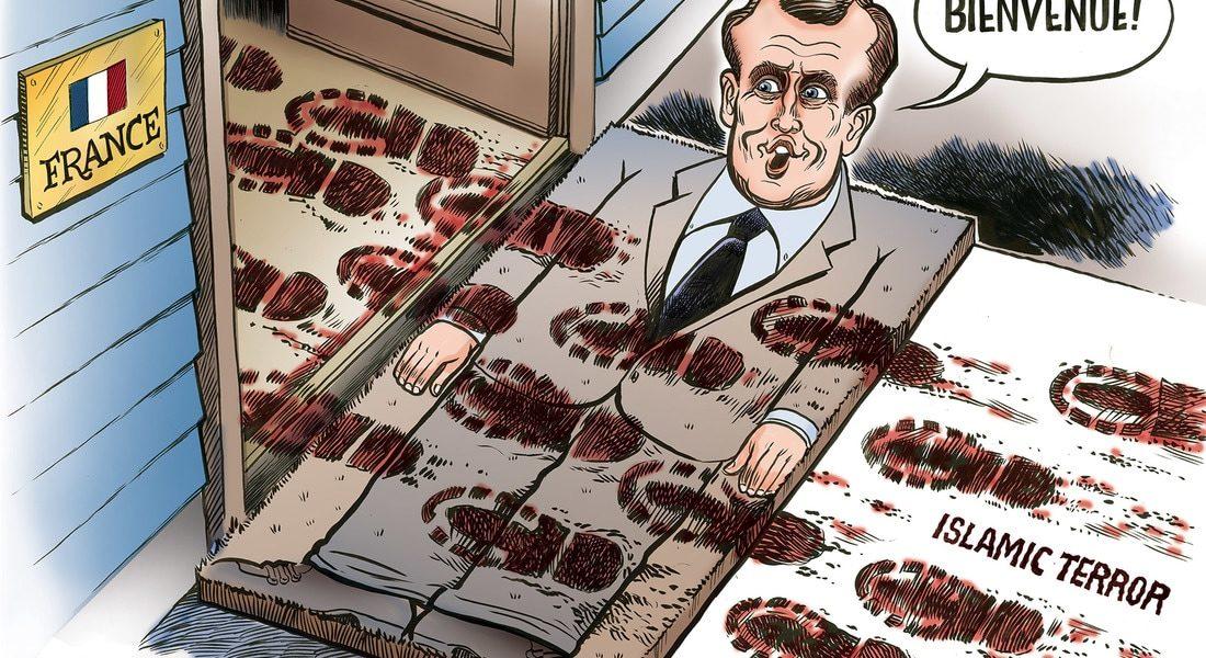 Image result for emmanuel macron islam cartoon