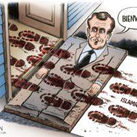 Macron Globalist Welcome Mat cartoon by Ben Garrison