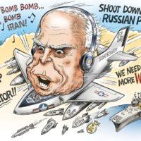 John McCain, the Mad Bomber cartoon by Ben Garrison