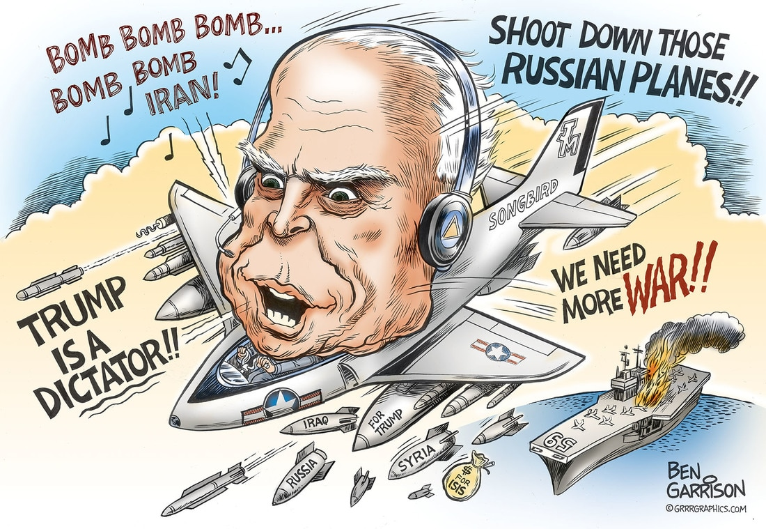 John McCain, the Mad Bomber cartoon by Ben Garrison