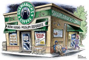 Starbucks Sharia Bucks cartoon by Ben Garrison