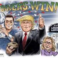 Winners Win - Super Bowl Trump Brady cartoon by Ben Garrison