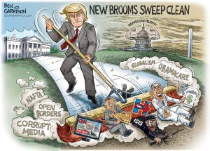 Trump Sweeps cartoon by Ben Garri