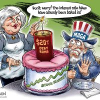 Yellen Debt Bomb cartoon by Ben Garrison