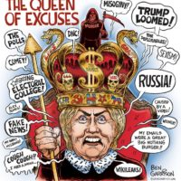 Hillary Queen of Excuses cartoon by Ben Garrison