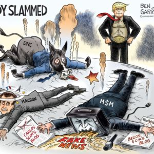 Trump Body Slam cartoon by Ben Garrison