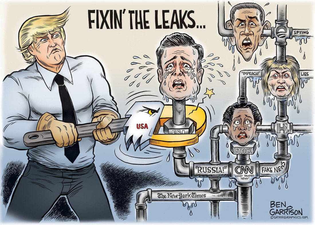 Trump Comey Fixin' the Leaks cartoon by Ben Garrison