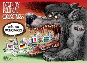 Wolf of Islam, Death by Political Correctness cartoon by Ben Garrison
