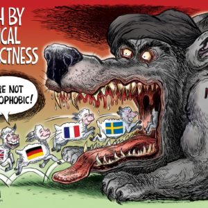Wolf of Islam, Death by Political Correctness cartoon by Ben Garrison
