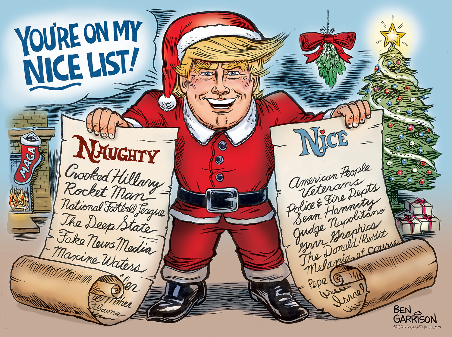 Trump Christmas List Personalized Print - Grrr Graphics