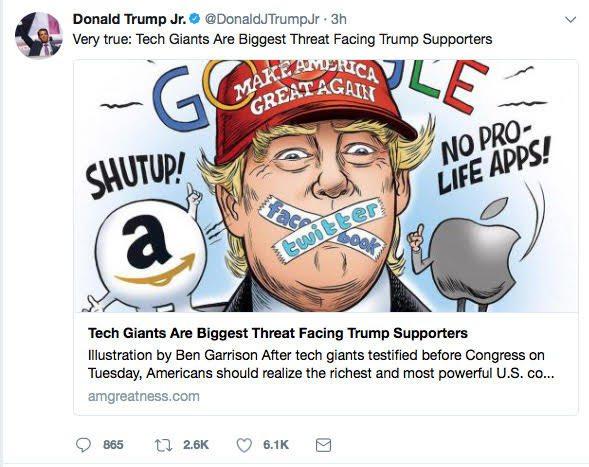 donald trump jr tweet ben garrison tech threat - Big Tech Trump's Supporters