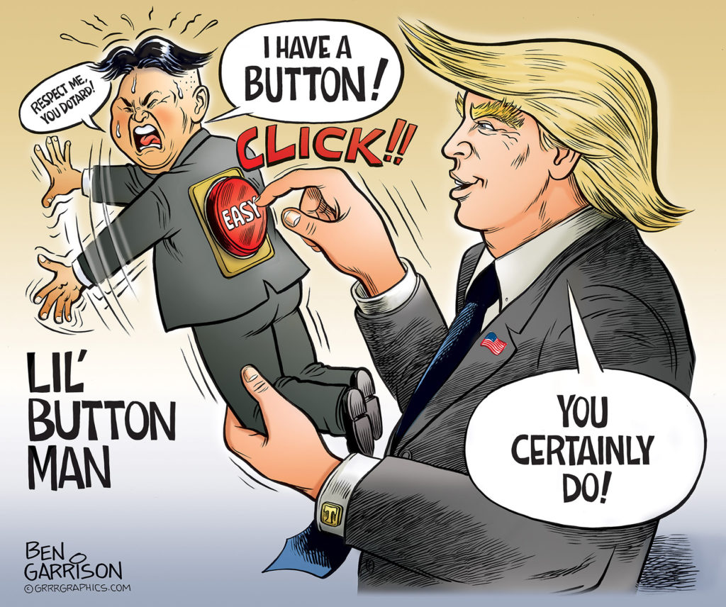 Kim Jong-Un button pushed by Trump cartoon