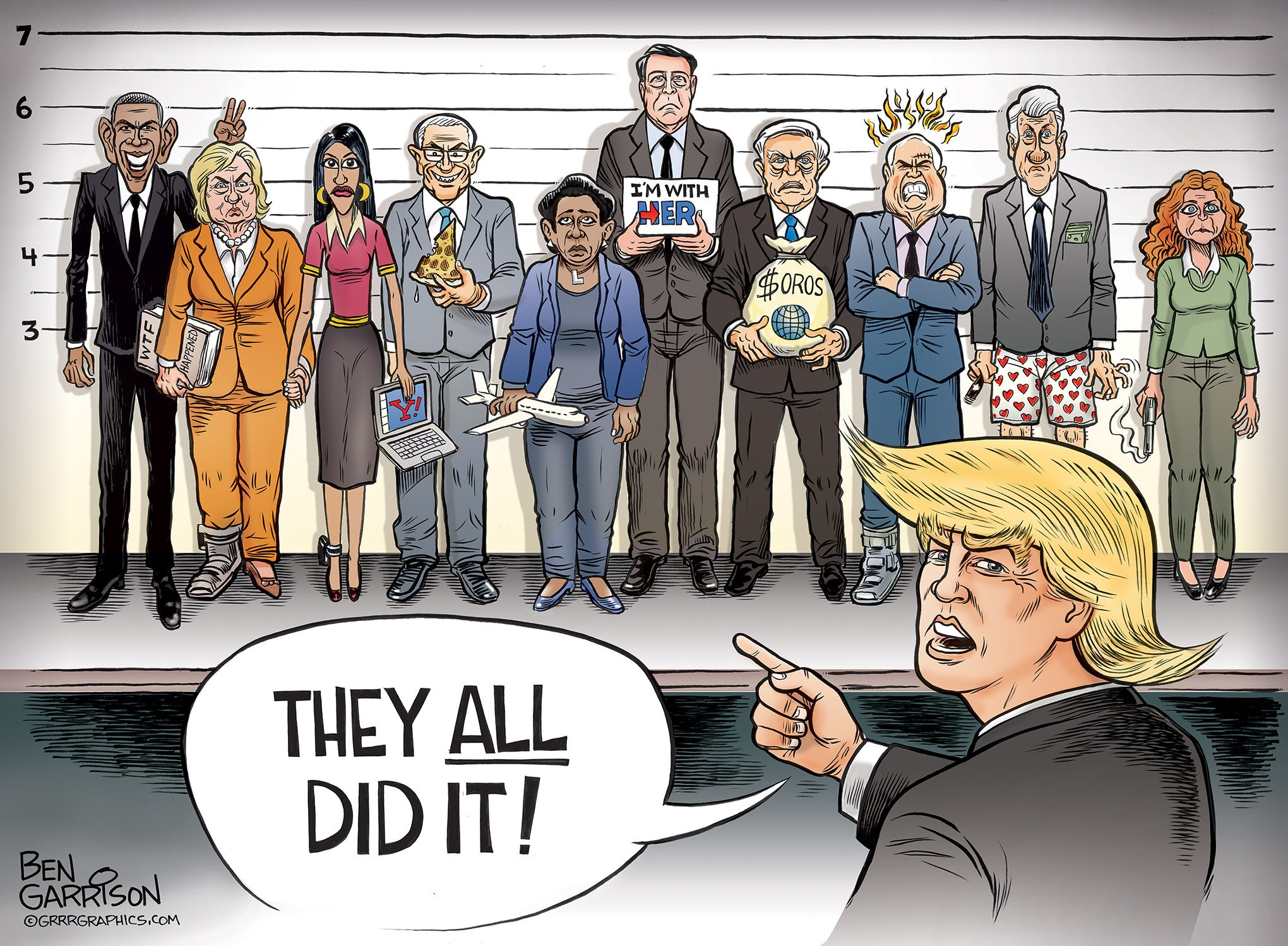 The Deep State Lineup cartoon by Ben Garrison