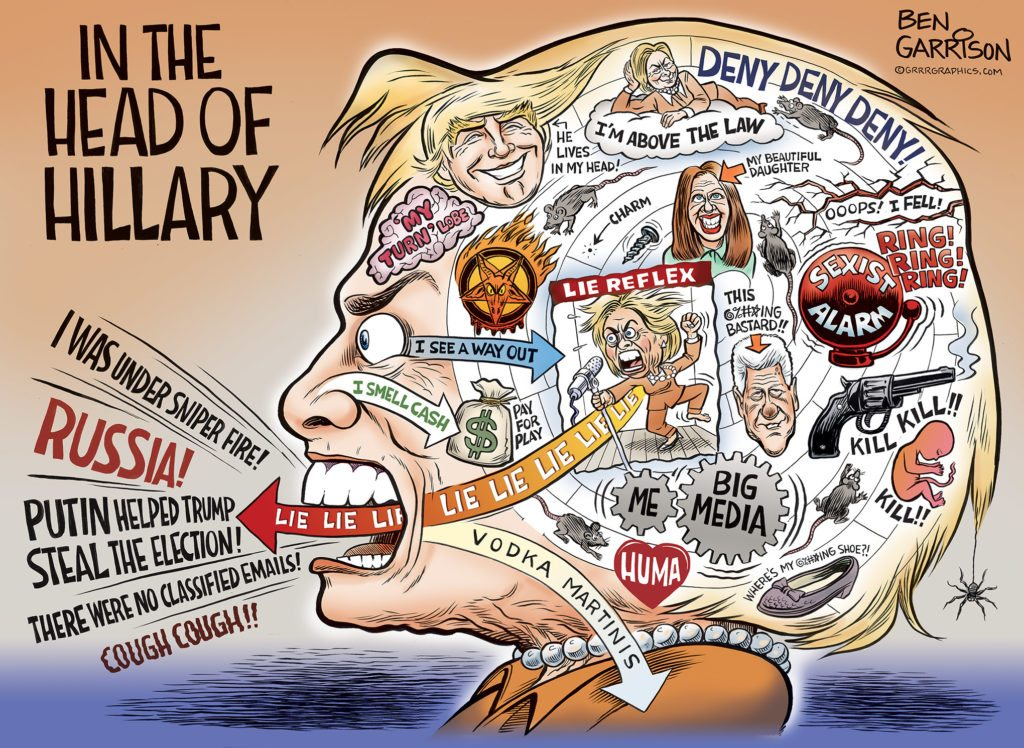 In Hillary's Head cartoon by Ben Garrison