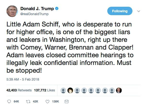 Trump Tweet about Little Adam Schiff