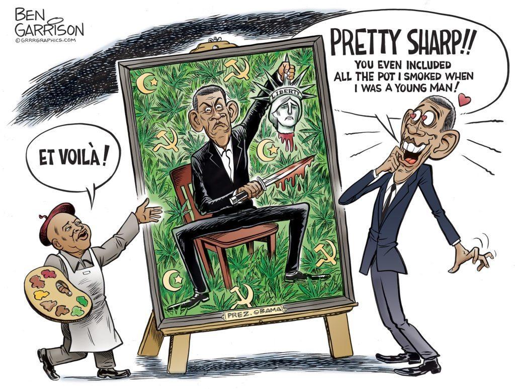 Obama Portrait cartoon by Ben Garrison