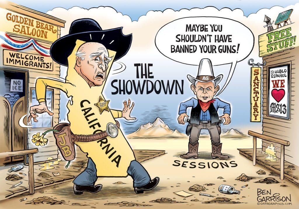 Governor Moonbeam vs AG Sessions Cartoon