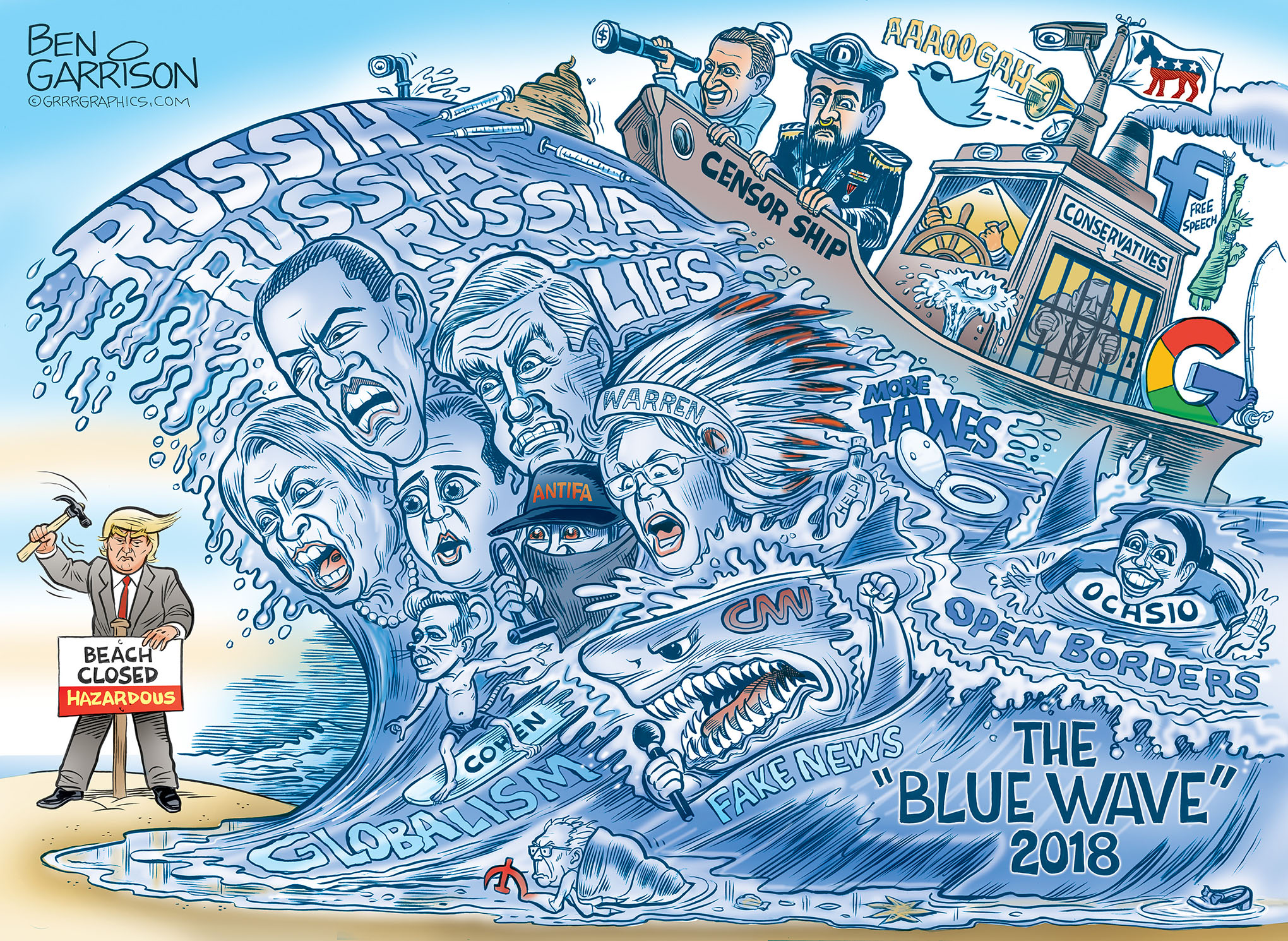 Image result for red wave political cartoon