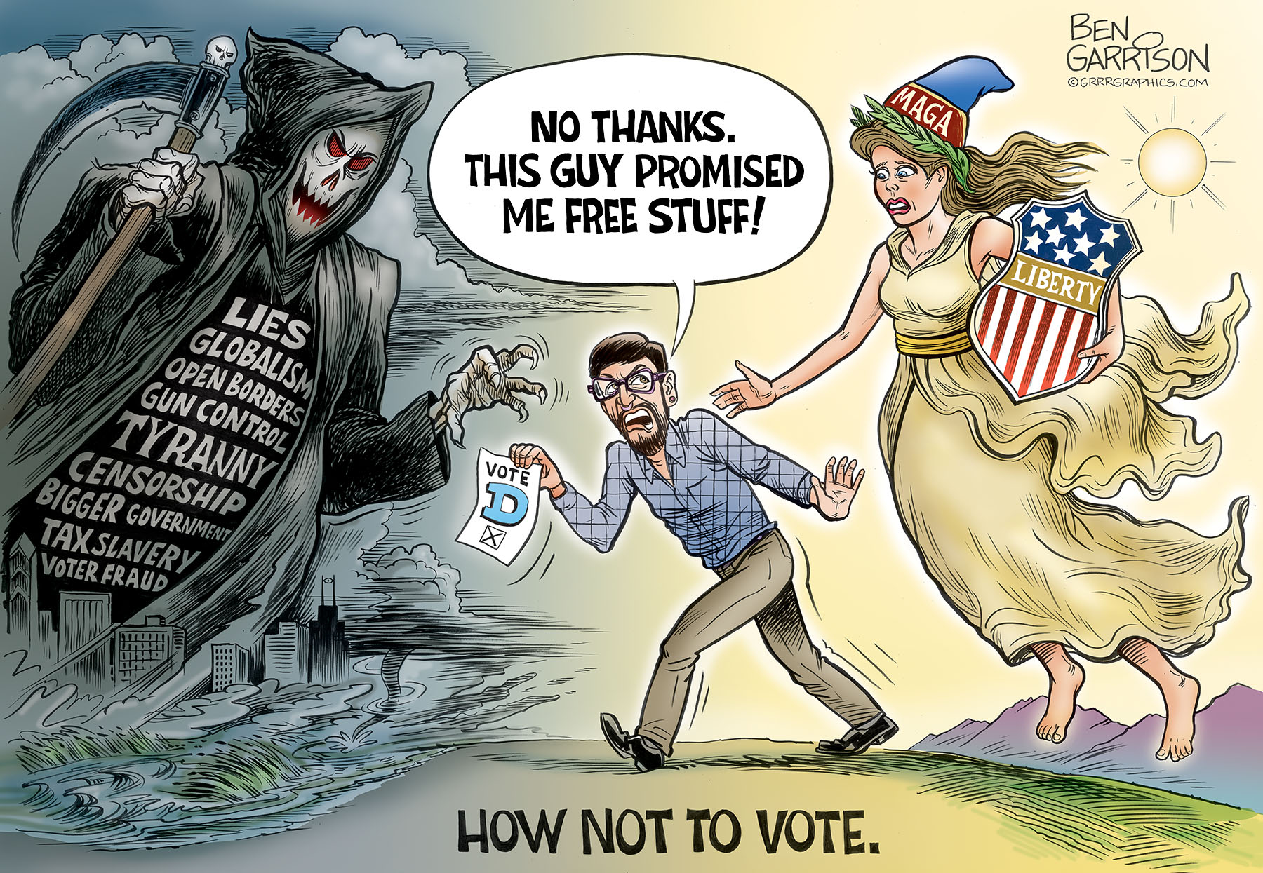 Image result for election cartoon how not to vote ben garrison
