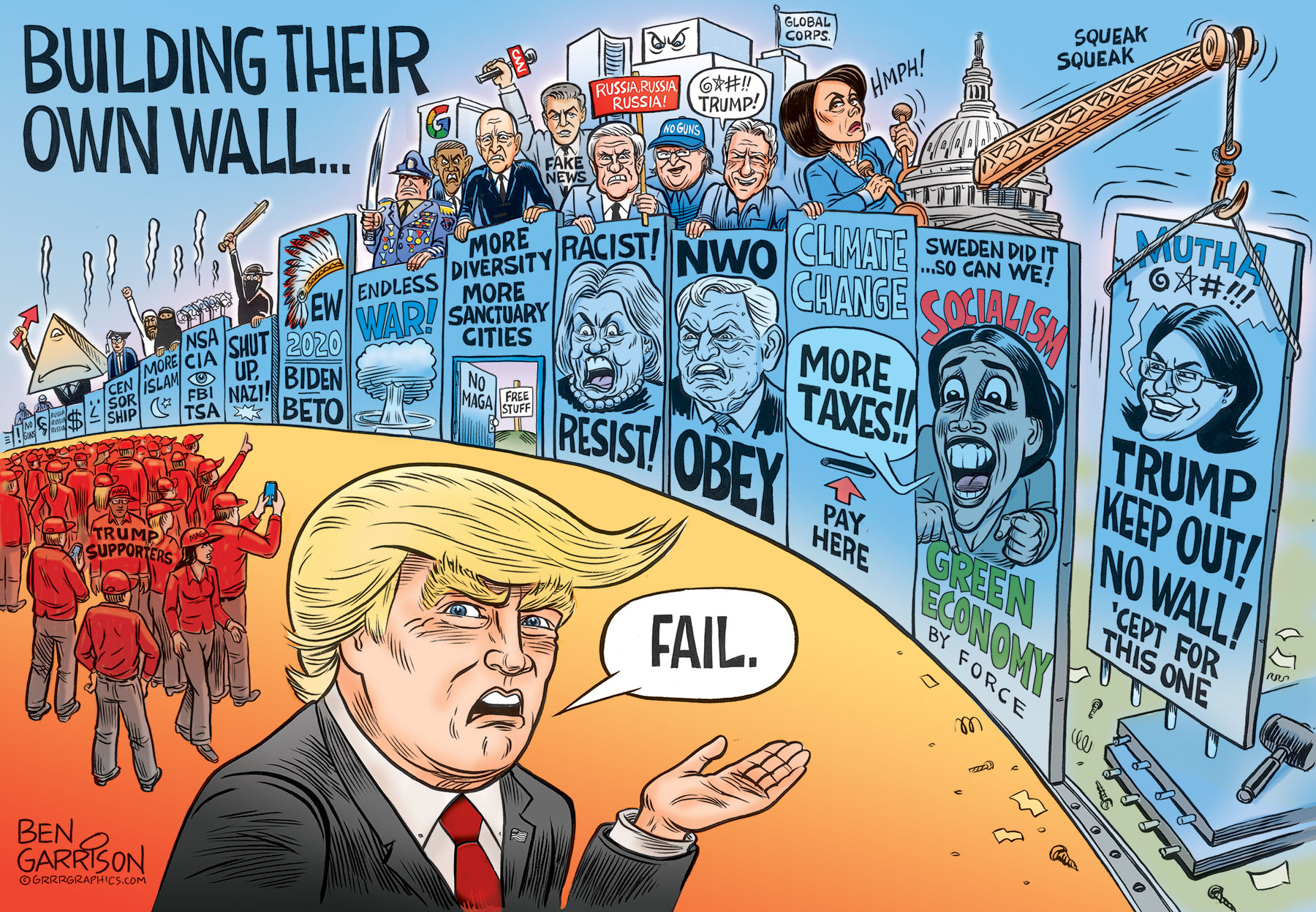 The Democrat Wall - Ben Garrison Cartoon - Conservative -6557