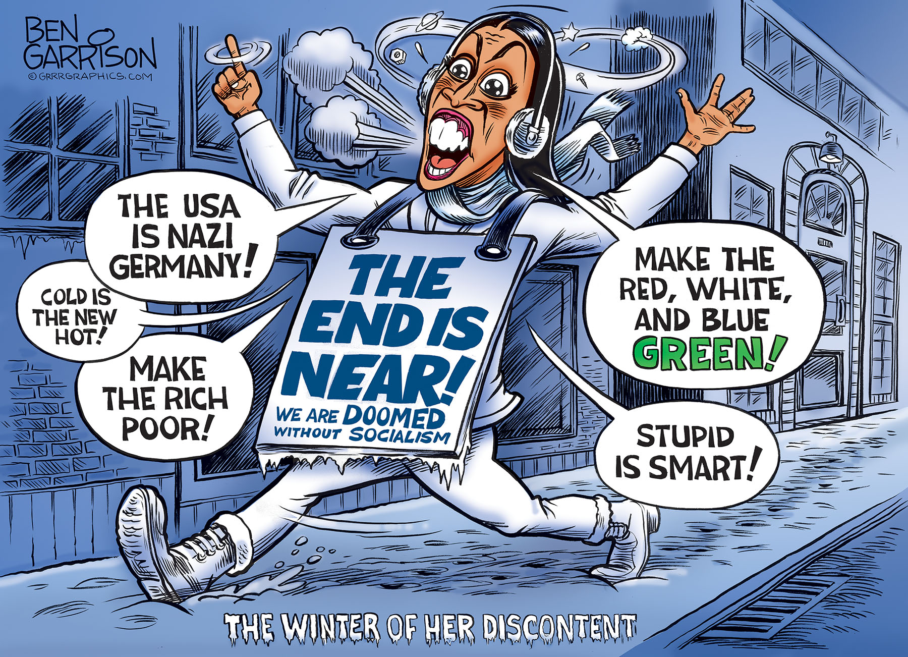 Image result for cartoon of aoc drinking out of a toilet