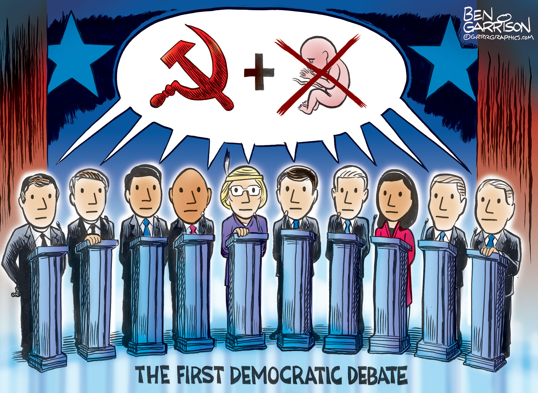 Democrat Debate 2019 Grrr Graphics Ben Garrison Cartoon