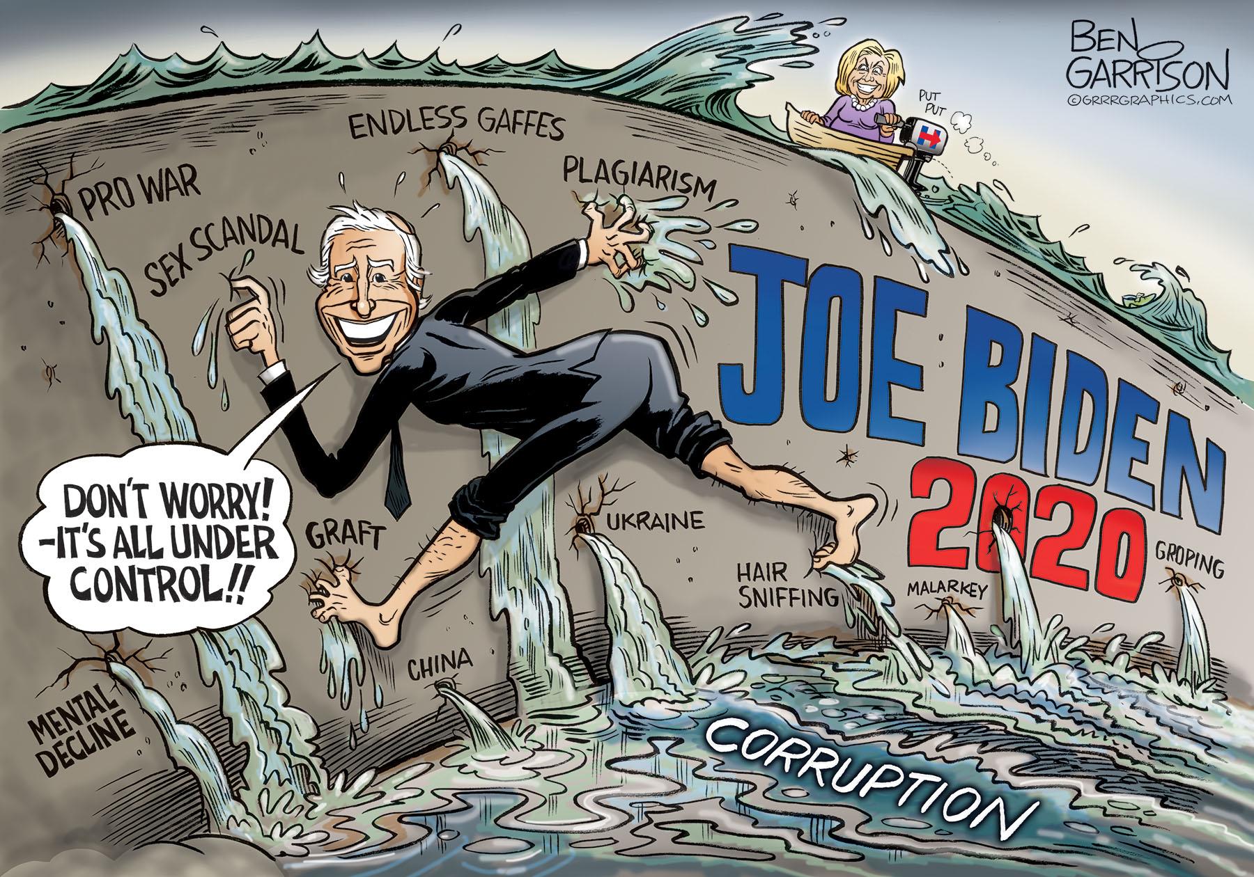 Joe Biden plugs the dike - ben garrison cartoon